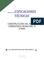 Especificaciones Tecnicas Construcción Del Nuevo Cementerio Municipal III Etapa
