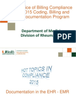 Rheumatology Office of Billing Compliance 2015 Coding, Billing and Documentation 9-18-2015