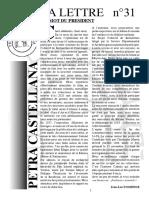 La lettre d'information 2018 de l'association Petra castellana