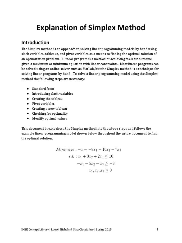 Explanation Of Simplex Method 2cx Linear Programming