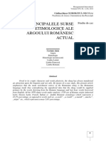 PRINCIPALELE SURSE ETIMOLOGICE ALE ARGOULUI ROMÂNESC ACTUAL