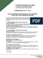 COMUNICADO PNP N° 03 - 2018
