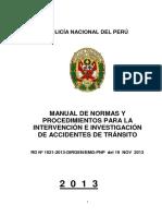 Manual de Normas y Procedimientos Para La Intervención e Investigación de Accidentes de Tránsito