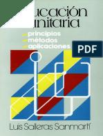 Educacion Sanitaria Principios Metodos y Aplicaciones