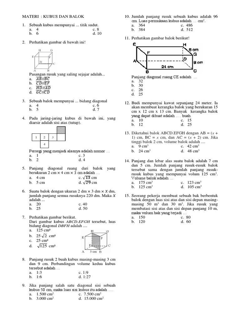 Ulangan matematika bangun ruangcx ccuart Image collections
