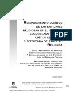Reconocimiento Jurídico de Las Entidades Religiosas en El Derecho Colombiano