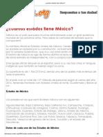 ¿Cuantos Estados Tiene México