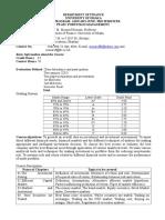 Course Outline on Portfolio Management