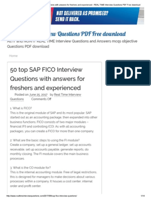 50 Top SAP FICO Interview Questions With Answers for Freshers and