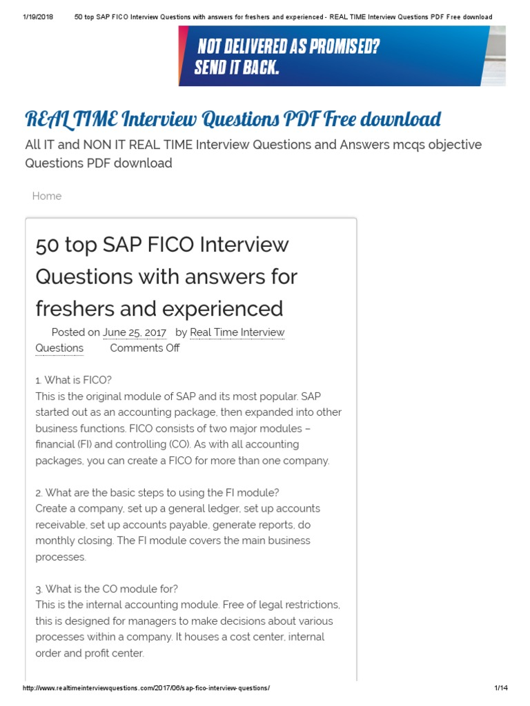50 Top SAP FICO Interview Questions With Answers For Freshers And  Experienced   REAL TIME Interview Questions PDF Free Download | Debits And  Credits | ...