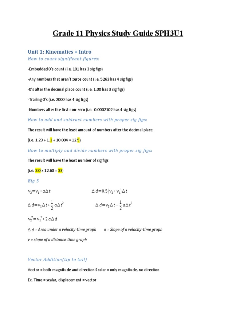Grade 11 Physics Study Guide / Notes for Final Exam SPH3U1 ...