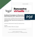 Certificat d'Inscription - Rencontre Virtuelle FLE Du 24 Janvier 2018