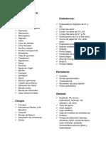 Lista de Materiales e Instrumental Odontologicos