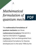 Mathematical Formulation of Quantum Mechanics