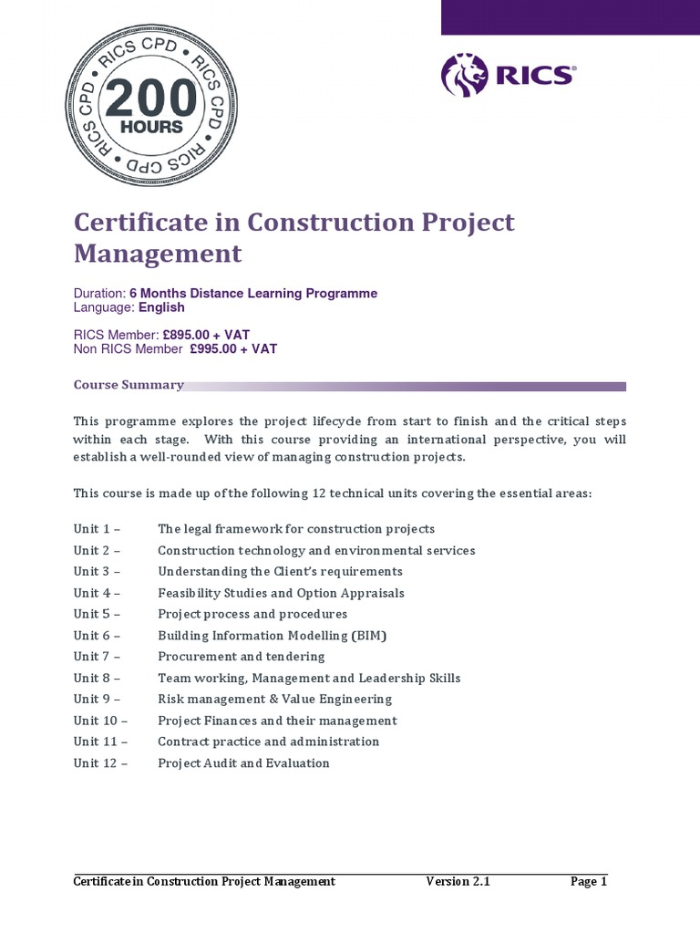 Certificate In Construction Project Management 280917 Lp Building