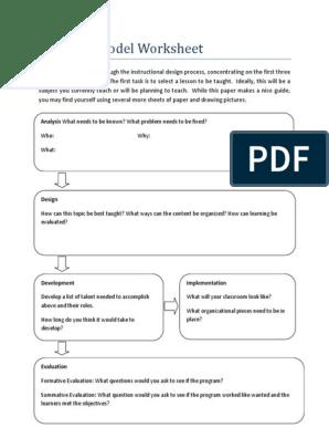 Addie Model Worksheet Behavior Modification Change