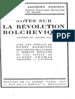 Jacques Sadoul, Notes Sur La Révolution Bolchevique (1919)