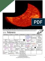Efemerides Astronomicas Febrero 2018-Grupo Kepler Bucaramanga