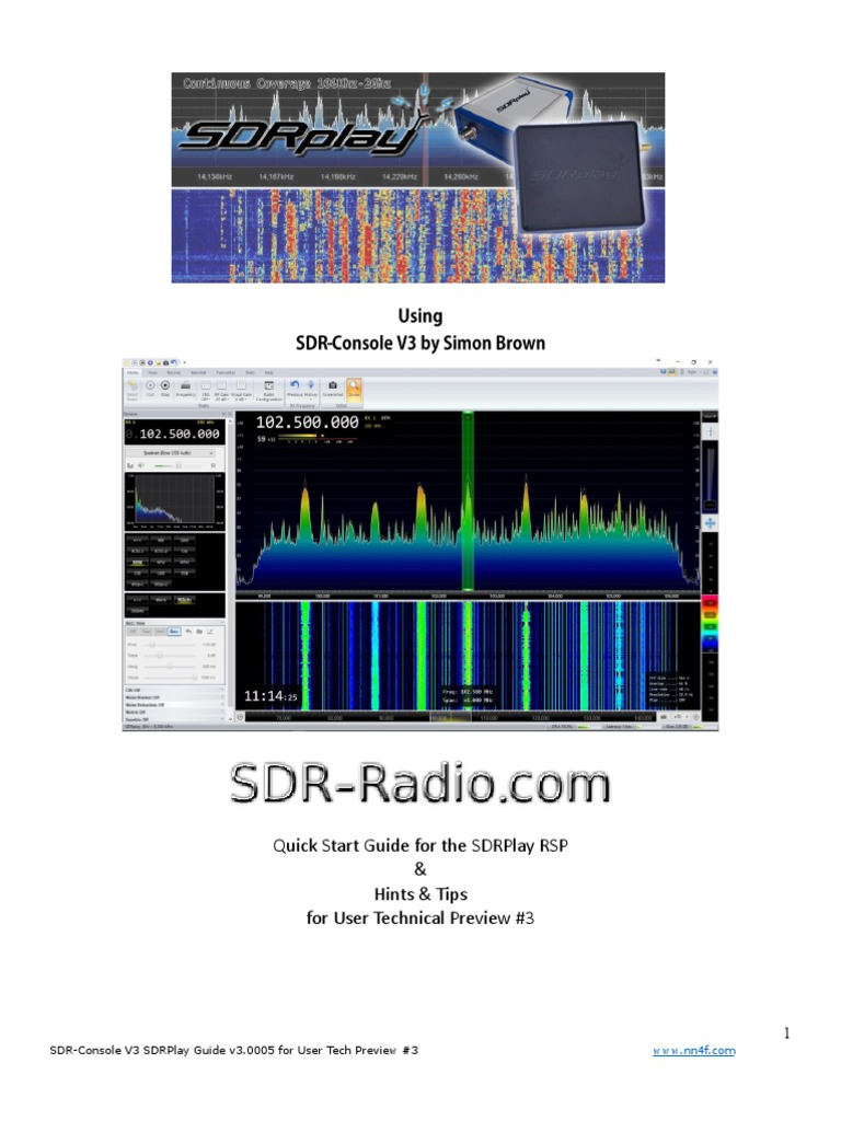 SDR Console V3 SDRPlay RSP QuickGuideTips   High Frequency