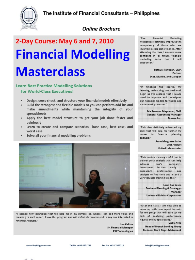 Financial Modelling Masterclass: 2‐Day Course: May 6 and 7, 2010