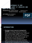Strategic Approach to Hrm