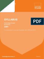 CIE O-level Economics Syllabus 2019