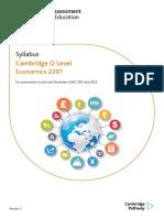 CIE O-level Economics Syllabus 2022