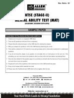 NTSE Sample Paper MAT Paper