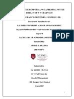 Blackbook Project on performance appraisal of Saint Gobain