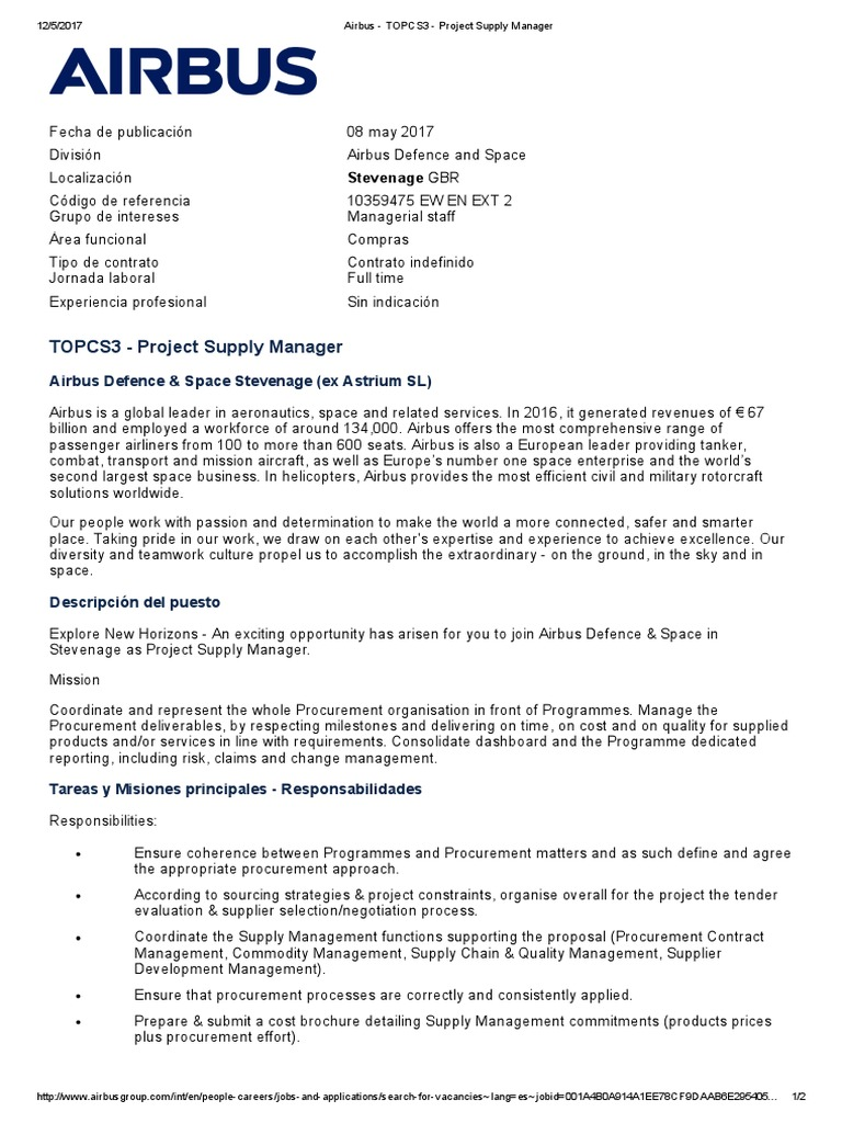 Project Supply Manager | Procurement | Airbus