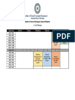 Schedule of Class Ma T and Pastoral Ministry