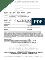 Sterlington Sports Complex Registration Form 2018