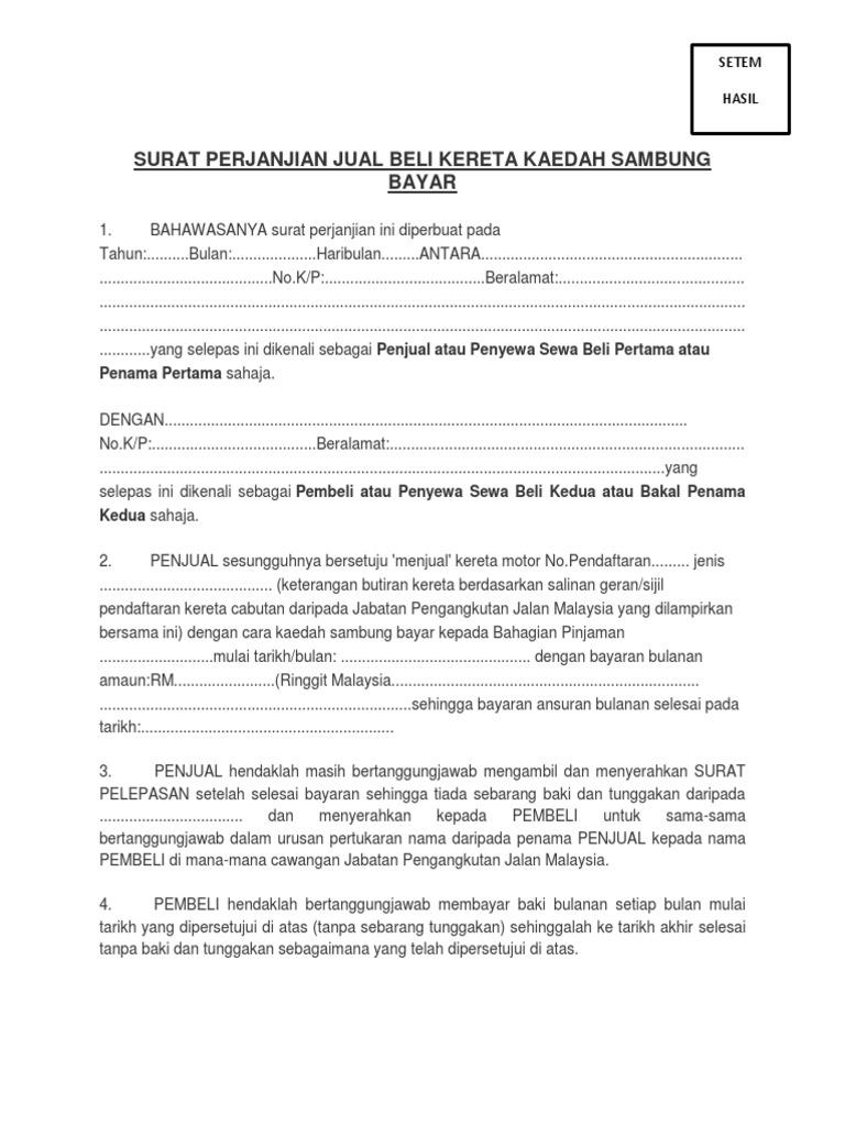 Surat Perjanjian Jual Beli Kereta Kaedah Sambung Bayar