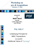 Presentation on M&A