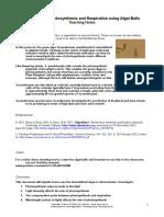 SAPS - Photosynthesis With Algal Balls - Teachers Notes