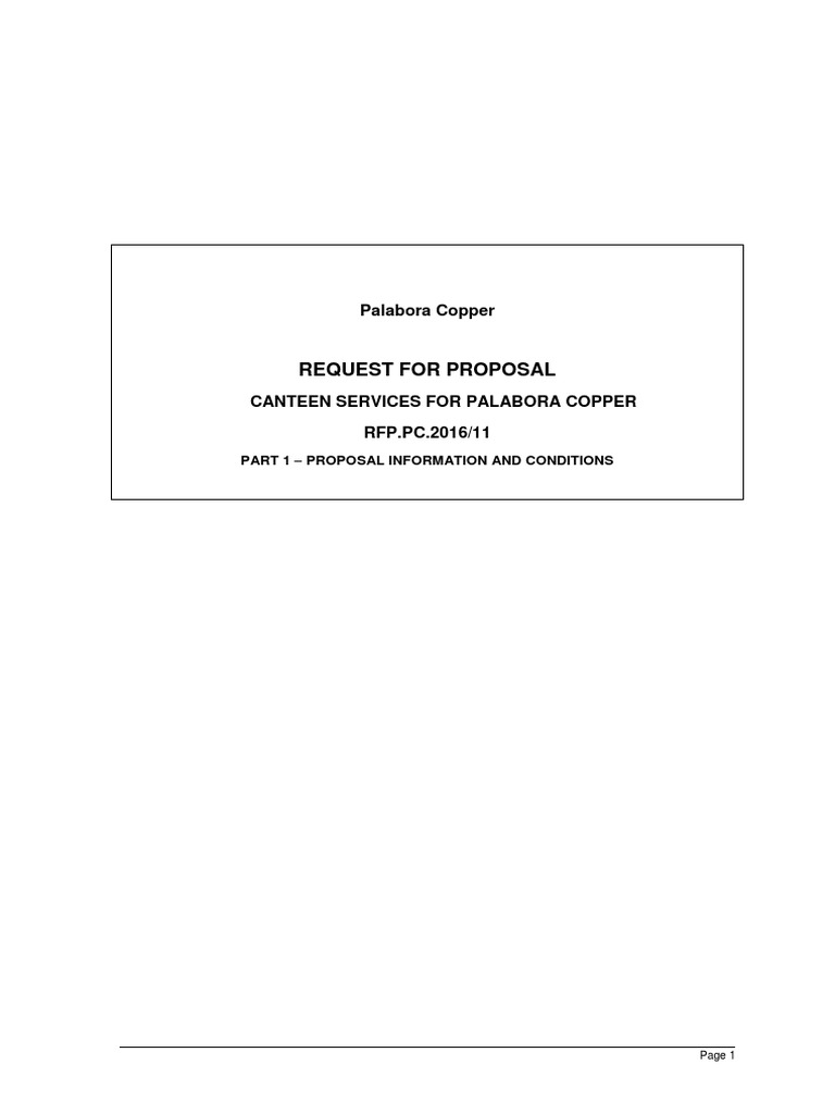 Request For Proposal For Canteen Services 1 Docx Request For Proposal Contractual Term