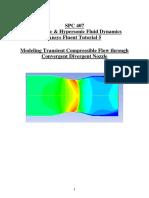 Transient Compressible Flow Inside Convergent Divergent Nozzle