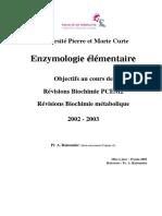 Biochimie  enzymologie élémentaire
