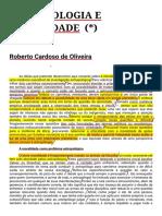 Antropologia e Moralidade, de Roberto Cardoso de Oliveira