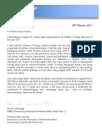 Connor Lane Letter