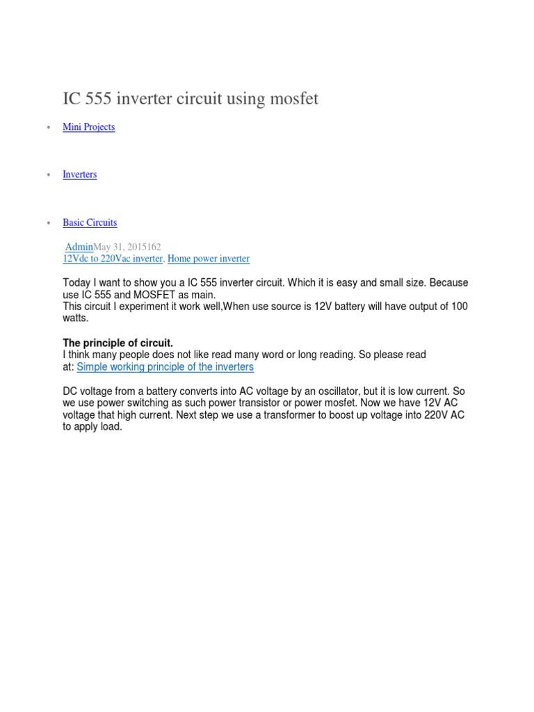 IC 555 Inverter Circuit Using Mosfet   Inversor de potencia