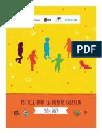 Política Para La Primera Infancia 2015-2020