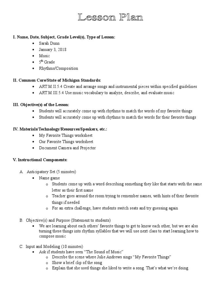 Introduction Lesson Plan Rhythm Lesson Plan