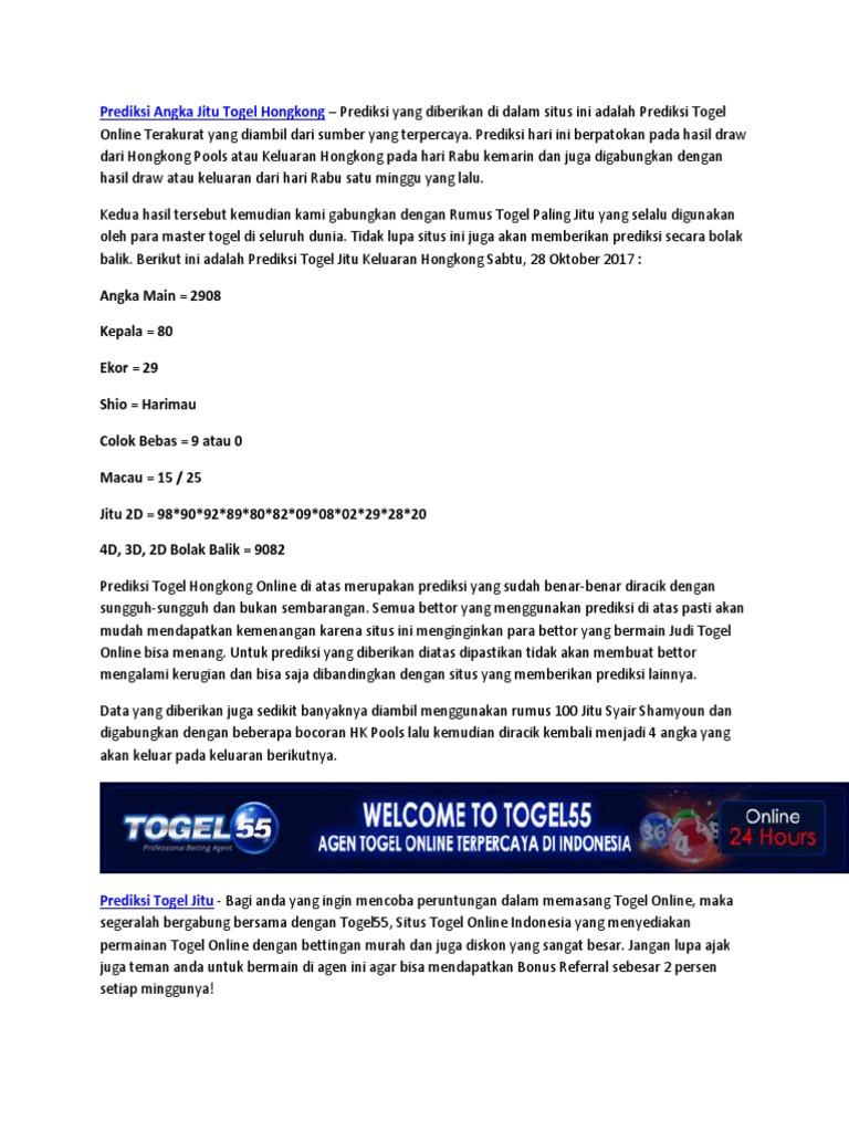 Prediksi Togel Jitu Keluaran Hongkong 6 Februari 2018
