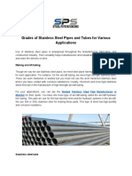 Grades of Stainless Steel Pipes and Tubes for Various Applications