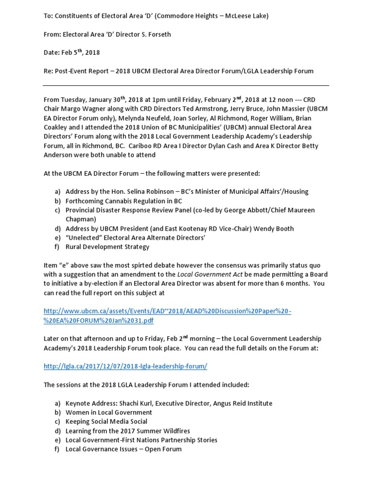 Post Event Report -- 2018 UBCM EA Forum and LGLA Leadership