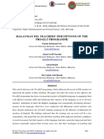 Malaysian Esl Teachers Perceptions of the Pro-elt Programme 17012018