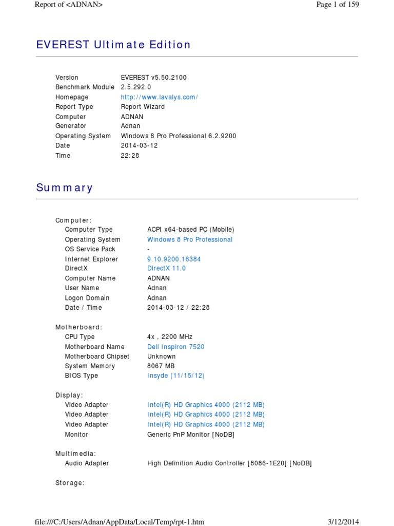 System Specs Adnan Rashid Dell 7520SE | Cpu Cache | Bios