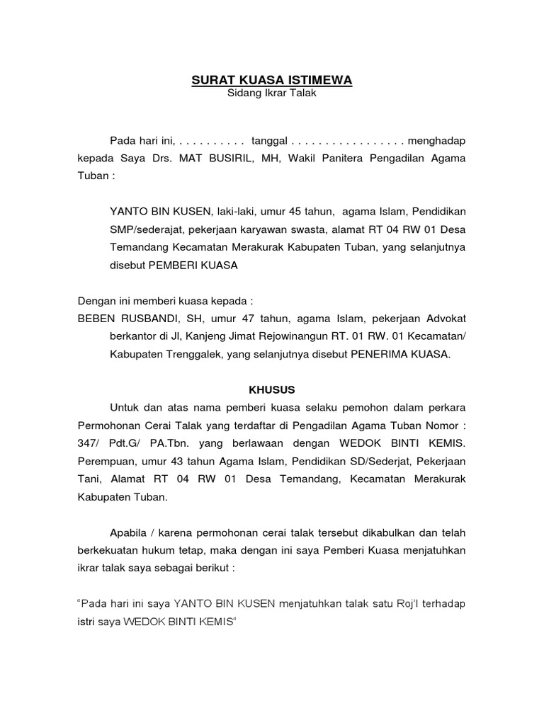 26++ Contoh surat gugatan cerai oleh kuasa hukum terbaru terbaik
