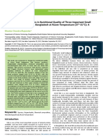 Comparison of the Changes in Nutritional Quality of Three Important Small Indigenous Fish Species in Bangladesh at Room Temperatur